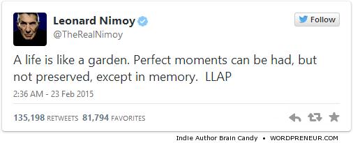 Leonard Nimoy (Spock)'s Last Tweet