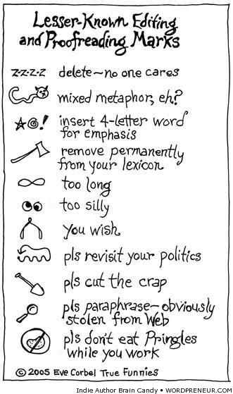 More lesser-known editing and proofreading marks